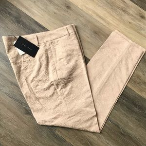NWT Zara Woman Jacquard Stretch Ankle Pants Pink L